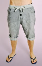 Grey Denim Shorts with Ribbed Waistband